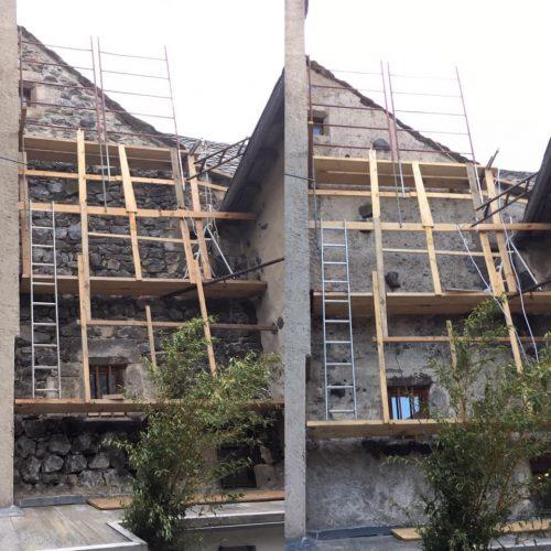 Rénovation façade côté escalier du …